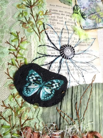 Mixed media et broderie d'embellissement